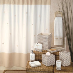 Creative Bath - Dragonfly Shower Curtain Multicolor - S0754 - Shop for Shower Curtains from Hayneedle.com! Flitting around for bathroom decor ideas? The Dragonfly Shower Curtain combines the enchantment of dragonflies with subtle tones in a neutral white and tan palette. It's made to match with other items in the Dragonfly bathroom collection and it's constructed of 100% cotton. Machine wash cold on gentle cycle; tumble dry on low heat setting.About Creative BathFor over 30 years Creative Bath has developed innovative stylish bathroom decor items. They have grown exponentially and now you can find their products in major retail and online stores around the world. From shower curtains to soap dishes and everything in between Creative Bath brings you high quality items to enhance your lifestyle.