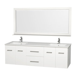 "Wyndham - Centra Vanity Double 72"" in White with White Stone Top & Square sinks - Simplicity and elegance combine in the perfect lines of the Centra vanity by the Wyndham Collection. If cutting-edge contemporary design is your style then the Centra vanity is for you - modern, chic and built to last a lifetime. Available with green glass, white carrera marble or pure white man-made stone counters, and featuring soft close door hinges and drawer glides, you'll never hear a noisy door again! The Centra comes with porcelain, marble or granite sinks and matching mirrors. Meticulously finished with brushed chrome hardware, the attention to detail on this beautiful vanity is second to none.; Square Porcelain Undermount sinks; Constructed of environmentally friendly, zero emissions solid Oak hardwood, engineered to prevent warping and last a lifetime; 12-stage wood preparation, sanding, painting and finishing process; Highly water-resistant low V.O.C. sealed finish; Unique and striking contemporary design; Modern Wall-Mount Design; Deep Doweled Drawers; Fully-extending under-mount soft-close drawer slides; Concealed soft-close door hinges; Single faucet hole mount (can be drilled for 3-hole faucets on site); Exterior hardware finish Brushed Chrome; Plenty of storage space; Plenty of counter space; Matching Mirror with Self; Four (4) functional doors; Two (2) functional drawers; Weight:386 lbs; Dimensions:Vanity 72""W x 22-1/4""D x 22-3/4""H; Mirror 70""W x 5-1/2""D x 33""H"