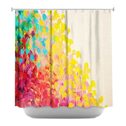 DiaNoche Designs - Creation in Color Shower Curtain - Sewn reinforced holes for shower curtain rings. Shower Curtain Rings Not Included. Dye Sublimation printing adheres the ink to the material for long life and durability. Machine Washable. Made in USA.