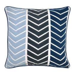 Villa Home - Urban Yohji Blue Pillow - A symphony of blue hues with a modern twist on design.  Our Urban Yohji Blue Pillows will add style to any room with contrasting patterns and vibrant colors.  A plush feather down insert included with every pillow for luxurious comfort.