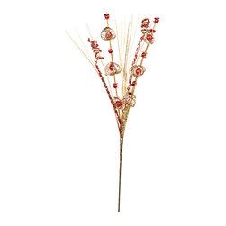 """Oddity - Oddity 12"""" Red and Gold Lace Leaf Spray - Our lace leaf sprays are a perfect addition to your holiday ensembles."""
