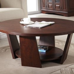 Furniture of America - Furniture of America 'Amber' Round Vintage Walnut Coffee Table - Complete the look of your living décor with this gorgeous work of art that features slightly over 35-inch surface space,with an underneath open shelf,all coated in warm vintage finish. Its effortless lateral curves and flared style support this table.