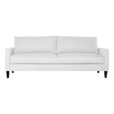 Apt2B - The Clark Sofa, Pure White - This handsome sofa collection will never go out of style. With a low profile and comfortable seat, this classic silhouette will be a staple in your room for years to come. Each piece is expertly handmade to order in the USA and takes around 2-3 weeks in production. Features a solid hardwood frame and upholstered in a 100% polyester fabric.