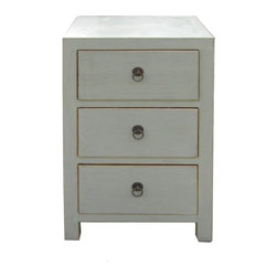 Golden Lotus - Chinese Light Gray White 3 Drawers Cabinet Table - This is a 3 drawers end table painted with light grayish white color and decorated with simple round handle.