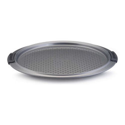 Anolon - Anolon Advanced 13 Inch Nonstick Pizza Crisper - A pizza crisper is a pan with a perforated bottom designed to deliver as much heat as possible to the bottom crust. In addition to letting heat in to sear the bottom of the crust, the holes also allow steam to escape, preventing the dreaded soggy-crusted version of one of America's favorite foods. Use this pan for your home-made pizza dough or to reheat a store-bought pizza without the mess that may accompany cooking a frozen pizza directly on your oven rack. - Weight: 1.9 lbs.