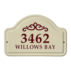 Classic Scroll Ceramic Address Plaque - With its simple, elegant design, the Classic Scroll Address Plaque graciously welcomes visitors and attractively defines your home. Made of ceramic.