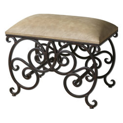 Uttermost - Uttermost 23092  Anjali Forged Metal Small Bench - Ornate, forged metal in dark rusted bronze finish with cushioned seat in light buff polyurethane.