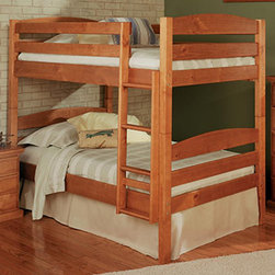 Chelsea Home - Twin Over Twin Bunk Bed - NOTE: ivgStores DOES NOT offer assembly on loft beds or bunk beds. Mattresses not included. Rustic style. Hand finished stain with three step process to compliment natural wood grain. Rails connect to bed ends by metal to metal machine bolt and t-nut for secure hold. Tested by Federal Safety Standards which require 400 pounds to be placed in top bunk on top of mattress foundation. Meet and exceed all of the following rules: ASTM F-1427-07, CFR 1213, CFR1513 and lead testing. Weight capacity: 250 pounds. Constructed for strength and durability. Warranty: One year. Made from solid pine wood. Honey finish. Made in Brazil. Assembly required. 80 in. L x 43 in. W x 68 in. H (160.6 lbs.). Bunk Bed Warning. Please read before purchase.Warning: Falling hazard, bunk beds should be used by children 6 years of age and older!