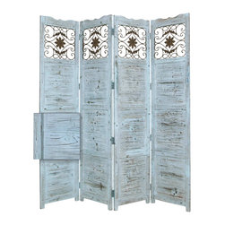 Nantucket Screen, Blue - Salisbury 4 Panel Floor Screen has a frame and panels of solid cedar wood stained in a washed Soft Blue finish.  Detailed scroll work on the top panels are made from stamped antique brass metal insets. This handmade Floor Screen is finished on both sides