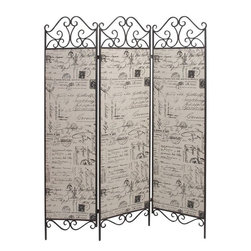 Benzara - Metal Canvas Screen Covered with Thick Canvas - If you are left with small space in your room and you want to use this space purposely with decor perspective, have a look over 66735 METAL CANVAS SCREEN. Each panel is covered with thick canvas with attractive meaningful print filled with messages and pictures.