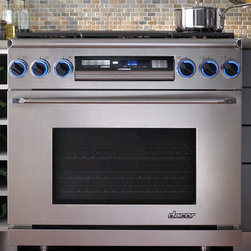 "Dacor Epicure 36"" Dual Fuel Range - This range packs all the power of a huge piece without being, well, huge, and I love the tilting control panel — perfect for easy entertaining."