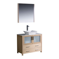 "Fresca - Fresca Torino 36"" Modern Bathroom Vanity w/ Vessel Sink - Light Oak - Fresca is pleased to usher in a new age of customization with the introduction of its Torino line. The frosted glass panels of the doors balance out the sleek and modern lines of Torino, making it fit perfectly in either Town or Country dcor."