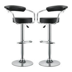Modway Imports - Modway EEI-930-BLK Diner Bar Stool Set of 2 In Black - Modway EEI-930-BLK Diner Bar Stool Set of 2 In Black
