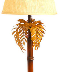 Mid Century Modern Bamboo Lamp - Mid century modern faux bamboo lamp with palm leaves. Gorgeous palm beach style piece in excellent condition made of wood base and metal palm leaves with hand painted detail. Palm leaf detail shade included.