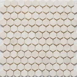 Hexagon, 1 Inch Crema Marfil - Honed - Crema Marfil Marble 1 Inch Hexagon- Honed Finish- Sold Per SF