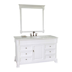 Bellaterra Home - 60 in Single sink vanity-wood-white - This single vanity will be the keystone of your bath or powder room. The strong classic design commands attention and and speaks volumes about your elegant taste. Constructed of environmentally friendly, zero emissions solid oak wood, engineered to prevent warping and last a lifetime. Top with white marble top, variations in the shading and grain of our natural stone products enhance the individuality of your vanity and ensure that it will be truly unique.