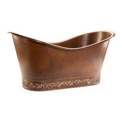 "Premier Copper Products - Premier Copper Products 67"" Copper Double Slipper Bathtub - Scroll & Nickel - Uncompromising quality, beauty, and functionality make up this Premier 67"" Hammered Copper Double Slipper Tub with Scroll Base and Nickel Inlay."