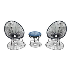 Acapulco 3-Piece Retro Patio Chat Set, Jet Black