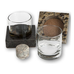 Sea Stones - Drink Chillers - Our three-piece Drink Chillers let you serve frosty cocktails and spirits in impeccable style with no chance of spills. The set of two combines our ever-popular On the Rocks stones and rock-solid drink holders to go directly from the freezer to the sipper while ensuring that each drink reaches its destination perfectly chilled and undiluted. The handsome bases are made of reclaimed granite lined and padded with thick cork to contain condensation and prevent table scratches. The precisely-bored holes nest the double-old-fashioned glasses securely into the coasters' deep recesses.