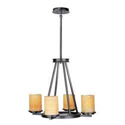 Maxim - Maxim Luminous 4-Light Rustic Ebony Stone Candle Glass Candle Chandelier - This Four Light Candle Chandelier is part of the Luminous Collection and has a rustic ebony finish and stone candle glass. It is dry rated.