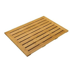 "Seville Classics - Bamboo Floor Mat: 22"" x 28"" Bathroom Floor - Shop for Flooring at The Home Depot. Bring the luxurious spa experience to your bathroom with this eco-friendly Rectangular Bamboo Bathroom Floor Mat from Seville Classics. Bamboo is one of the world s fastest, renewable plants with a maturity cycle of only 3-4 years, making it an environmentally friendly natural source compared to forested hardwoods. This stylish solid bamboo mat features linear open slats and a raised profile for efficient air circulation. Skid resistant silicone feet ensure the mat stays securely positioned. Place one outside your bath, shower, spa or square up multiples to fit your space. This mat measures 28-inches by 22-inches. Note: This floor mat was not designed for use inside shower or bathtub. Do not submerge item in water for long periods of time."