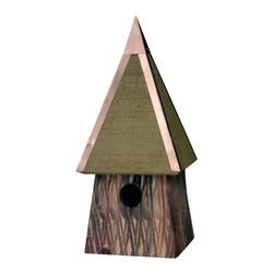Heartwood - Potters Place Bird House Bronze - You  don't  have  to  be  a  wizard  to  have  your  birds  spellbound,  not  when  you've  got  Potter's  Place  drawing  them  by  droves.  Rustic  scored  exterior,  like  bark  from  an  enchanted  forest,  adds  otherworldly  elegance,  while  gleaming  copper  roof  ridges  and  wizard-hat  roofline  yield  a  beguilling  charm.  Like  all  Heartwood  homes,  Potter's  Place  is  carefully  handcrafted  from  solid  cypress.  No  wands  waved  here,  just  first  quality  materials  put  together  with  meticulous  care  and  skill,  for  season  after  season  of  magical  birding  experiences.                    7x7x16              1-1/2  hole              Available  in  bronze,  moss  green,  redwood              Handcrafted  in  USA  from  renewable,  FSC  certified  wood