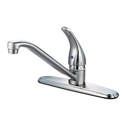 Hardware House - Plumbing - 12-5239 Satin Nickel Kitchen Faucet - Single Handle Kitchen Faucet with Spray