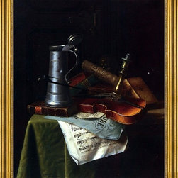 "William Michael Harnett-16""x20"" Framed Canvas - 16"" x 20"" William Michael Harnett Still Life with a Violin, Pewter Tankard and Sheet Music framed premium canvas print reproduced to meet museum quality standards. Our museum quality canvas prints are produced using high-precision print technology for a more accurate reproduction printed on high quality canvas with fade-resistant, archival inks. Our progressive business model allows us to offer works of art to you at the best wholesale pricing, significantly less than art gallery prices, affordable to all. This artwork is hand stretched onto wooden stretcher bars, then mounted into our 3"" wide gold finish frame with black panel by one of our expert framers. Our framed canvas print comes with hardware, ready to hang on your wall.  We present a comprehensive collection of exceptional canvas art reproductions by William Michael Harnett."