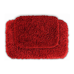 None - Serenity Chili Pepper Red 2-piece Bath Rug Set - Luxuriate in the deep pile of the Serenity bath and spa collection. These two red rugs are created from durable,machine-washable nylon with non-skid latex backing for safety.