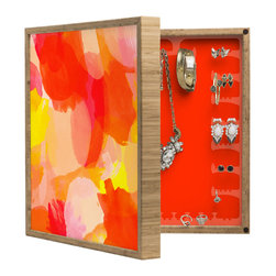 DENY Designs - Rebecca Allen A Sunset BlingBox Petite - Handcrafted from 100% sustainable, eco-friendly flat grain Amber Bamboo, DENY Designs BlingBox Petite measures approximately 15 x 15 x 3 and has an exterior matte cover showcasing the artwork of your choice, with a coordinating matte color on the interior. Additionally, the BlingBox Petite includes interior built-in clear, acrylic hooks that hold over 120 pieces of jewelry! Doubling as both art and an organized hanging jewelry box, It's bound to be the most functional (and most talked about) piece of wall art in your home! Custom made in the USA for every order.
