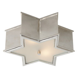 Sophia Flushmount Light - For a smaller room, a petite flushmount fixture in a starburst shape is the ideal choice. Polished nickel gives it a sophisticated look and acts as the seamless contrast to the soft glass cover. Use this in a powder room or small children's room for a playful layer of light.