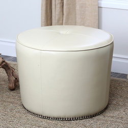 Abbyson Living - Abbyson Living Sienna Round Nailhead Trim Cream Leather Ottoman - Relax in luxury with the Sienna Round Ottoman from Abbyson Living. This functional piece highlights a cream-colored, bycast leather upholstery, a hardwood frame and brass nailhead trim detailing.