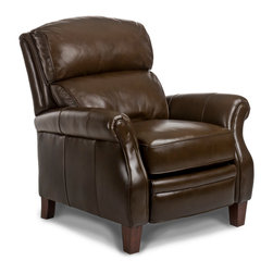 Randall Allan - Nolan Recliner - You'll get the rivalry of the big game onscreen, and the clash that's sure to come over who gets to sit in this throne. Stuffed with soft foam and covered in high quality chocolate leather, it easily pushes back so you can put up your feet in style. Get two to keep the peace.