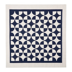 Navy Circles Patchwork Quilt - My husband and I live for the sunshine and fresh air at our cottage, but we have to watch out for that temperature drop when the sun goes down. Be prepared for chilly nights with this casual and elegant patchwork quilt.