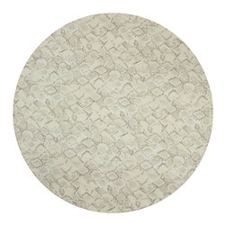 """Huddleson Linens - Python Print Linen Tablecloth, 68"""" Round - Python print linen tablecloth.  Uniquely nuanced shimmering snakeskin print in sophisticated shades of silver and grey on taupe background.  Beautifully rich neutrals that provide an elegant texture or a glamorous statement that elevate any table setting.  Machine washable."""