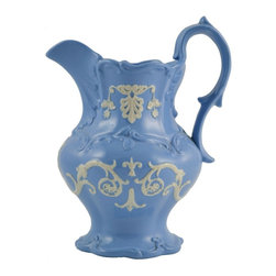 None visible - Consigned Blue and White Medium Molded  Decoration Jug - Spectacular medium size sky blue ceramic milk jug with molded decoration and with applied white classical garlands, early 19th century English.