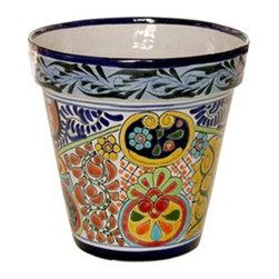 "Mexican Talavera - Mexican Talavera Flower Pot - 10"" Diameter - Large - Design A - Mexican Talavera Flower Pot - 10"" Diameter e Large"
