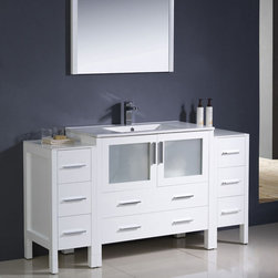 Fresca - Fresca Torino 60 White Modern Bathroom Vanity, 2 Side Cabinets & Sink - The clean white colour of this vanity unit is an ideal choice for family bathrooms. A set of eight drawers and a glass fronted cabinet gives maximum storage space for a neat and tidy bathroom. A modern integrated ceramic sink offers style and function thanks to its space saving design.  Torino Bathroom Vanity Details:   Dimensions: Vanity: 59 3/4W x 18 1/8D x 33 3/4H Material: Plywood with Veneer, integrated ceramic sink Finish: Glossy White Please note: faucet not included