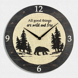 Young's - Wood & Burlap 'All Good Things' Wall Clock - For a rustic accent that also helps you keep track of your leisure time, hang this warmly textured clock in the kitchen or cabin living room. �� 19'' diameter Wood / burlap Imported