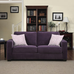 PORTFOLIO - Portfolio Madi Purple Velvet Sofa with Amethyst Purple Greek Key Accent Pillows - This Portfolio Home Furnishings Madi sofa features modern squared arms in a purple velvet fabric. The Portfolio Madi sofa includes two modern amethyst purple greek key print decorative pillows.