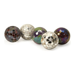 "IMAX CORPORATION - Abbot Mosaic Deco Balls - Set of 5 - Set of 5 art deco balls, each unique in design and color. Comes in various sizes measuring around 21""L x 14""W x 9.5""H each. Shop home furnishings, decor, and accessories from Posh Urban Furnishings. Beautiful, stylish furniture and decor that will brighten your home instantly. Shop modern, traditional, vintage, and world designs."