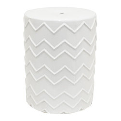Home Decorators Collection - Zig Zag Garden Stool - The unique pattern embossed across our ceramic Zig Zag Garden Stool makes it a one-of-a-kind seat or side table. This transitional stool easily complements your decor with its neutral finish and simple design. White finish. Outdoor safe.