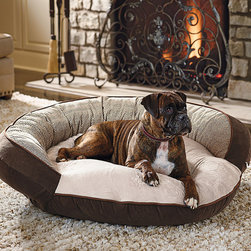 Frontgate - Plush Dream Pet Bed Dog Bed - Furniture-grade high-memory fiberfill. Microplush sleeping area. Outer bolster provides added support and a sense of security. Zippered cover is easily removable for machine washing. Overstuffed with furniture-grade, high-memory fiberfill, this exceptionally soft bed will quickly become your dog's favorite sleeping spot. Handsomely styled with houndstooth or herringbone patterns, it features a soft microplush sleeping area surrounded by a substantial outer bolster that provides an extra sense of comfort and security. . . . .
