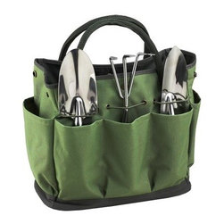 Picnic at Ascot Eco Gardening Tote Set - Keep your tools handy using the Picnic at Ascot Eco Gardening Tote Set while tending to your flowerbeds. This gardening tote set comes with multiple pockets to hold tools. Made of 600D polycanvas and cotton makes it eco-friendly and durable. The gardening tote includes three stainless tools that have comfortable grip handles. It comes with side pockets for holding snacks and drinkss. Designed and assembled in the U.S., the tote set is a must have for gardening enthusiasts.About Picnic at AscotDay or evening, beachside or backyard, picnics are a favorite event. By introducing Americans to the British tradition of upmarket picnics over a decade ago, Picnic at Ascot created a niche for picnic products combining British sophistication with an American fervor for excitement and exploration. Known as an industry leader in the outdoor gift market, Picnic at Ascot houses a design staff dedicated to preserving the prized designs and premium craftsmanship signature to the company. Their exclusive products are carried only by selective merchants. Picnic at Ascot provides quality products that meet the demands of today, yet reflect classic picnic style.