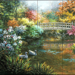 The Tile Mural Store (USA) - Tile Mural - Treasury Of Splendor - Kitchen Backsplash Ideas - This beautiful artwork by Nicky Boehme has been digitally reproduced for tiles and depicts a bridge over a tranquil lake.  Waterview tile murals are great as part of your kitchen backsplash tile project or your tub and shower surround bathroom tile project. Water view images on tiles such as tiles with beach scenes and Mediterranean scenes on tiles Tuscan tile scenes add a unique element to your tiling project and are a great kitchen backsplash idea. Use one or two of our landscape tile murals for a wall tile project in any room in your home for your wall tile project.