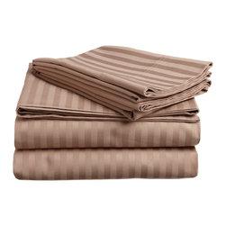 400 Thread Count Egyptian Cotton Queen Mocha Stripe Sheet Set - 400 Thread Count Egyptian Cotton Queen Mocha Stripe Sheet Set