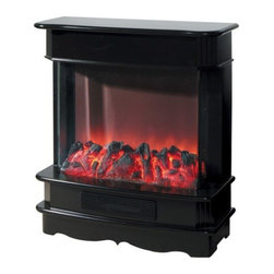 Yosemite Home Decor - Orion - Yosemite Home Decor - Orion. This model boasts of a clear widescreen view of the patterned flames. The faux charcoal adds to the beauty of this fireplace. The fireplace comes in a shiny black finish. Yosemite Home Decor Orion model is floor standing and can easily be set against the wall. The soft curves of this electric fireplace lend a fluid and elegant touch to your interiors.