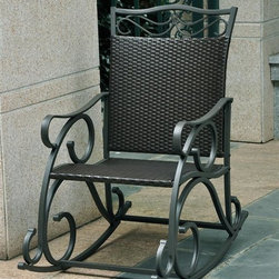 International Caravan - Patio Rocker in Black Antique Finish - Weather resistant. UV light fading protection. Coated frame. Made from wicker resin and steel frame. Assembly required. 39 in. W x 23 in. D x 41 in. H (33 lbs.)