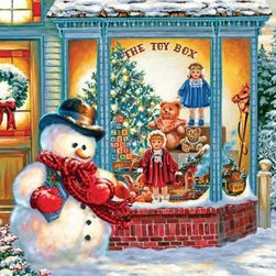 Frosty's Toy Box Puzzle - 500 Piece Jigsaw PuzzleFrosty's Toy Box is a whimsical picture of Frosty dressed in a bowler hat, green vest, and a woven scarf with matching mittens. On his snowy sidewalk outside the local toy store, Frosty wears the main palette of this jigsaw puzzle. His cherry reds, blue greens, spots of black and gently hued shades of snow are echoed repeatedly in the store's windows and door as well as in the afternoon sky and background of evergreen woods. This is a charming and fun Christmas puzzle to put together on a cold winter day.