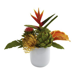 Covered In Style Inc - Tropical Floral Arrangement w/White Glass Vase - The nice thing about tropical plants is you can really make some interesting combinations of the varying shapes and textures. This tropical floral arrangement is exactly that - a lush mix of colors and shapes that simply complement each other perfectly. Placed together in a beautiful white glass vase, this piece will become an immediate focal point wherever you place it. Makes a fine gift as well.
